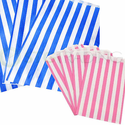 """CANDY STRIPE PAPER PICK AND MIX SWEET BAGS PINK/WHITE BLUE/WHITE 5x7"""" 7x9"""" INCH"""