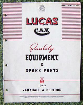 Lucas Cav - Vauxhall/ Bedford Spare Parts List 1959 Ref- Cce904H