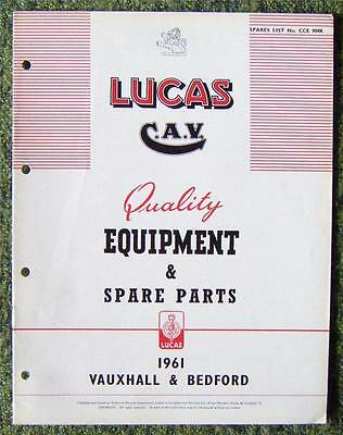 Lucas Cav - Vauxhall/ Bedford Spare Parts List 1961 Ref- Cce904K