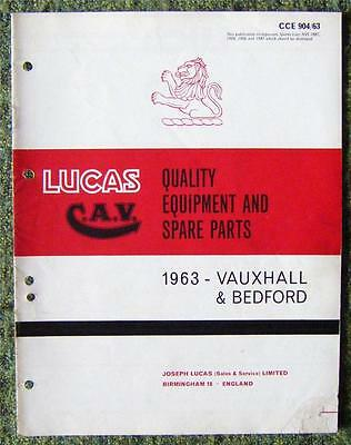 Lucas Cav - Vauxhall/ Bedford Spare Parts List 1963 Ref- Cce904/63