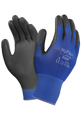 Ansell Hyflex 11-618 Ultra Lightweight PU Palm Coated Precision Work Gloves