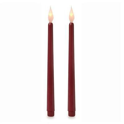 11 Inch LED Taper Candles Burgundy - Pack of 2