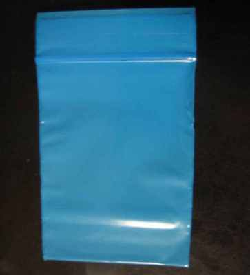 100 BLUE COLOR  3 x 5  Plastic Ziploc/Ziplock reclosable Jewelry BAGS 2 MIL