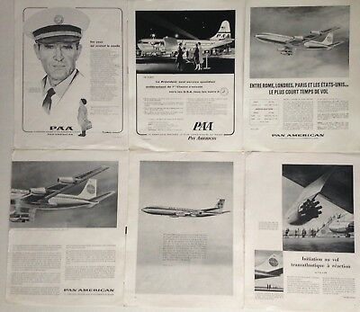 Lot Publicites Annees 50-60 Special Compagnie Aerienne Pan American
