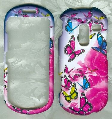 rose butterfly rubberized Samsung R455C SCH-R455C phone cover hard snap on case