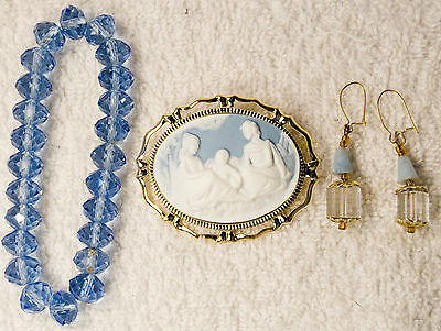 jewelry set bracelet earrings Blue glass crystal Cameo pin brooch pendant gold t