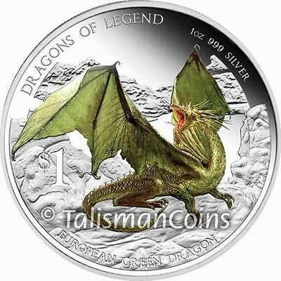 Australian Perth Tuvalu 2013 Dragons of Legend 5 European Green Dragon $1 Silver