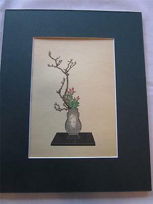 Vintage Matted Botanical Print Magnolia & Lily Flower Arrangement By Koun Ohara