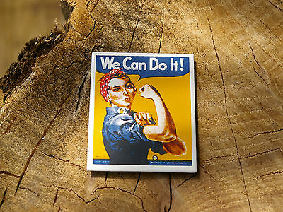 We Can Do It! Magnet Girl Showing Off Guns Biceps Handkercheif Rosie Riveter