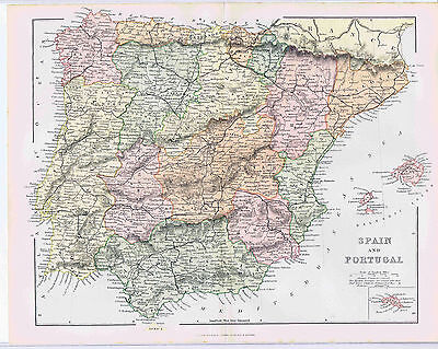 1880s Spain & Portugal Mackenzie Color Map