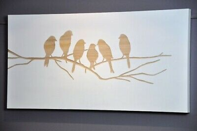 """BIRDS IN WINTER""CARVED WOOD WALL ART PICTURE-WHITE-fine quality timber carving"