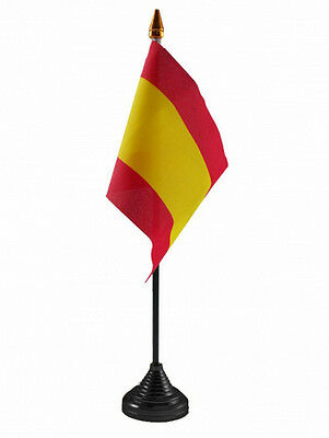 "SPAIN TABLE FLAG desktop flags 6"" x 4"" with 10"" pole SPANISH ESPANA ESPANOL"
