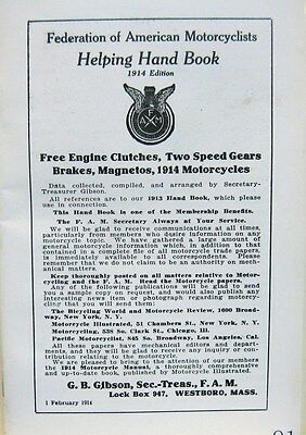 1915  Federation Of American Motorcyclests Helping Hand Book G.B. Gibson  F.A.M.