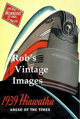 Milwaukee Road Hiawatha Poster 1939 Chicago  CMSP Train Railroad Ad Antique  sm