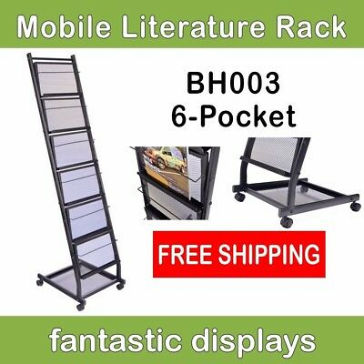 6-Shelf Mobile Literature Rack, Brochure Holder and Magazine Stand on Casters