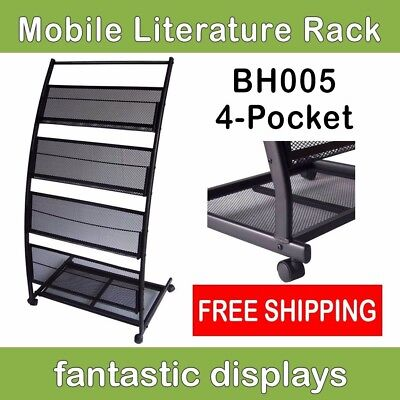 4 Shelf Mobile Literature Rack Magazine Stand - Wide Pockets