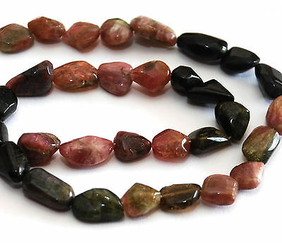 Strand Unusual, Multicolour Tourmaline Smooth Nugget Beads, 12 Mm