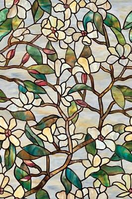 New SUMMER MAGNOLIA PRIVACY STAINED GLASS WINDOW FILM Floral Vinyl Static Clings