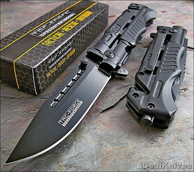 TAC-FORCE BLACK Assisted Opening HIGH CARBON Glass Breaker Rescue Knife NEW!