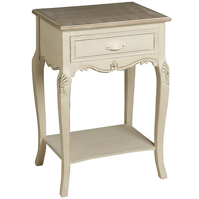 New Shabby Chic Antique Style French Country Cream Bedside Table Cabinet (H7827)