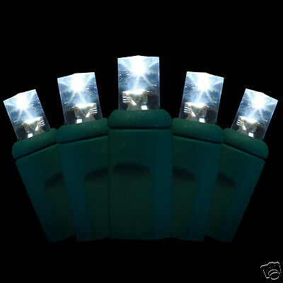 20 LED Christmas mini lights - bright white - 5mm conical bulbs - green wire