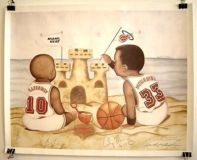LMT PRINT BABY POSTER SIGNED by TIM HARDAWAY & ALONZO MOURNING KENNETH GATEWOOD