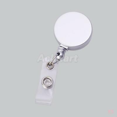 5x Silver Grey Retractable Pass ID Card Badge Holder Clip Key Chain Reel w. Clip