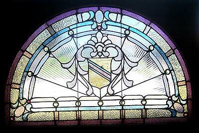 ~ Antique American Stained Glass Window ~ 17 Jewels ~ Architectural Salvage ~