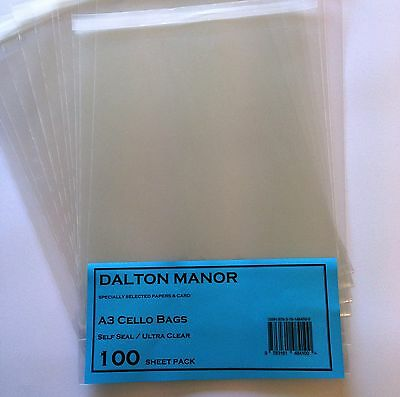 A3 Cello Bags Cellophane Self Seal High Quality Crystal Clear N