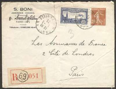 France Internal Airmail Register Cover 1933 w 2 Stamps