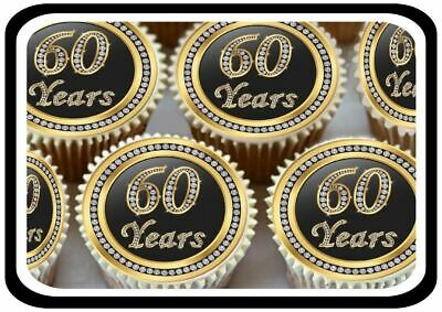 30 Gold 60Th Birthday Anniversary Edible Cupcake Toppers Thick Rice Paper 1175