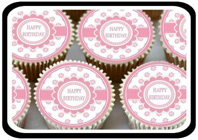 30 Pretty Happy Birthday Pink Cute Edible Cupcake Toppers Thick Rice Paper 1181