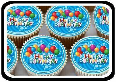 30 - Cute Happy Birthday Balloons Edible Cupcake Toppers Thick Rice Paper 1184