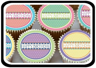 30 -  Pastel Colour Happy Birthday Edible Cupcake Toppers Thick Rice Paper 1191
