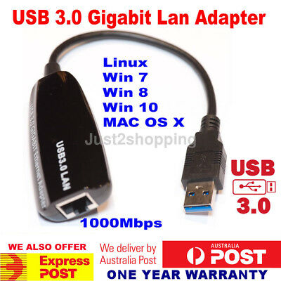 USB 3.0 to Gigabit RJ45 Ethernet LAN Network Adapter 1000Mbps For PC Laptop Mac