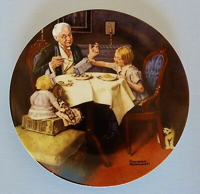"NORMAN ROCKWELL 1985 ~ KNOWLES PLATE ~ 8.5-In Diameter ~ ""SUNMAID RAISINS 1920"""