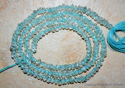 "Aquamarine 2.5-3mm diameter Faceted Rondelle Gemstone Beads 7""/14"" strand"