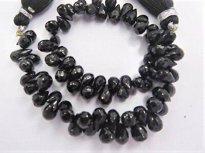 SPINEL Black 7-10mm long (10/25 Checkerboard FACETED Drops) Pick-A-LOT A+Quality