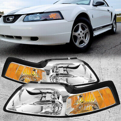 99-04 Ford Mustang Pair Headlights Headlamps Chrome W/Xenons Set New