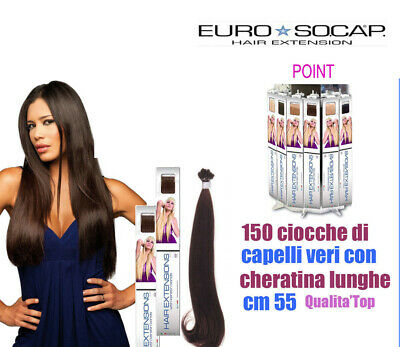 Euro So.cap. Hair Extension 150 Ciocche Naturali Cheratina Cm 50-55 Remy Qulity
