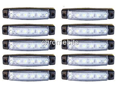 10 pcs 12V 6SMD LED FRONT WHITE CLEAR SIDE MARKER LIGHT LAMP TRUCK TRAILER LORRY