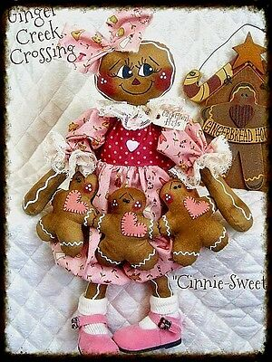 "Primitive Gingerbread Doll ""Cinnie Sweet"" w/ ginger ornie garland PATTERN #75"