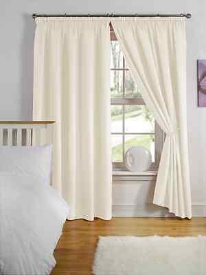 "66"" x 54"" CREAM NATURAL THERMAL BACKED LIGHT REDUCING CURTAINS 3"" PENCIL PLEAT"