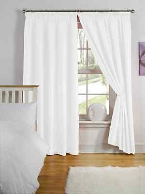 "66"" x 72"" WHITE THERMAL BACKED LIGHT REDUCING PAIR CURTAINS 3"" PENCIL PLEAT TOP"