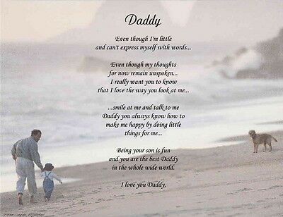 Dad Daddy  Personalized Poem For Father's Day Christmas or Birthday