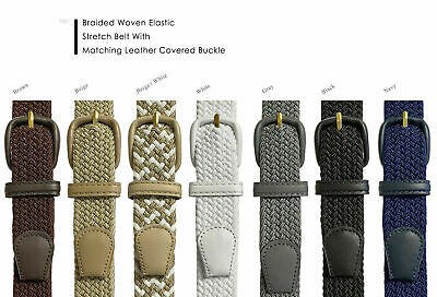 """Women's Leather Covered Buckle Woven Elastic Stretch Belt, 1-1/4"""" Wide"""