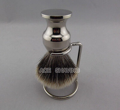 ACE SHAVING Finest Badger Hair Shaving Brush Stainless Handle Beard Brush New