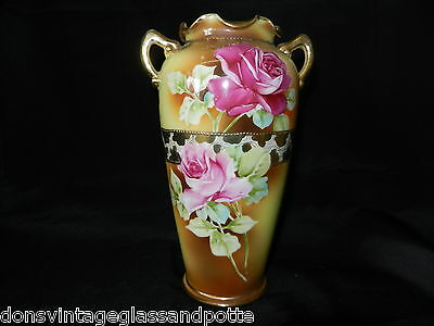 Nippon Vase Roses Gold Beading Green Maple Leaf Mark