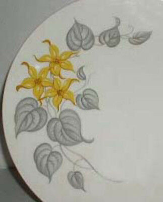 Knowles Yellow Jasmine Dinner Plate Yellow Flower Gray Leaf