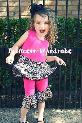 Hot Pink Leopard Mermaid Tutu Top and Ruffle Pants Outfit Set Girl Clothing 1-8Y